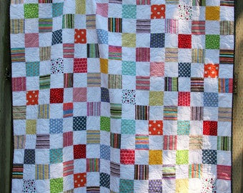 Modern Dots and Stripes Lap Quilt