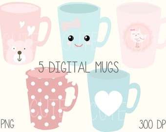 Digital Coffee Mug Cup Clipart Printable Instant Download PNG Scrapbooking Sticker Invitation Cards Commercial use Kawaii