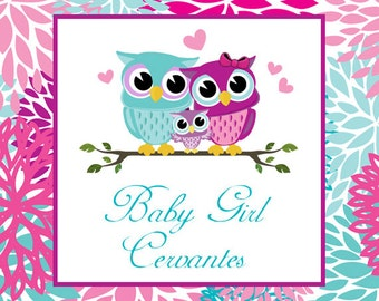 Owl Baby Shower Square Tag