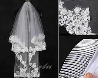 Fingertip length veil,Bridal lace veil,Rhinestone trim veil,Embroidery lace veil,2 tiers wedding veil,Bridal veil with hair comb