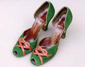 Vintage 1940s 40s Green Suede Peeptoe Court Shoes Knotted Heart Detail UK 3 US 5.5 high heels tan
