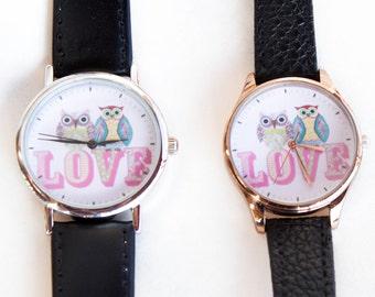 Cute Owls Love- Leather wrist watch- Romantic Gift Watch-Couple Watches- Unique wrist watch-Free Shipping-Quartz watch