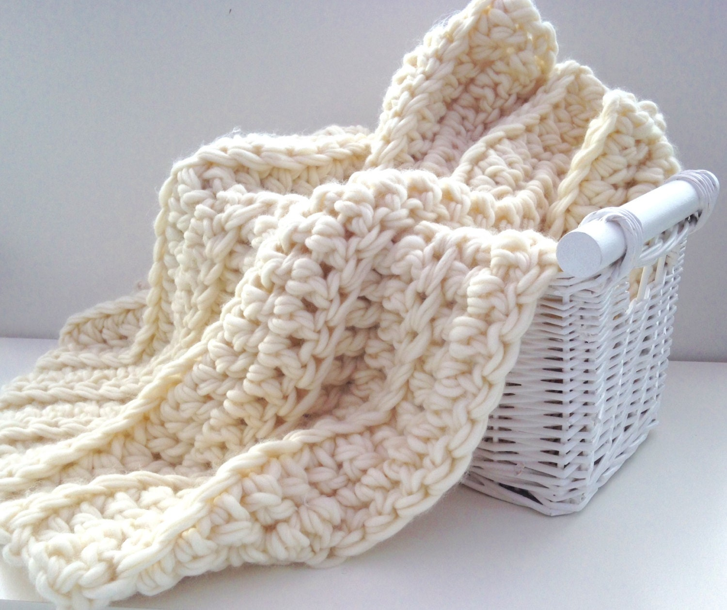 Beginners crochet kit luxury baby blanket. by WoolCoutureCompany