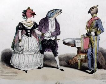 "1860 c GRANDVILLE - ""The proud Father"" - RARE Original Antique Vintage Print Caricature Handcoloured Engraving. Bird. Fish. 146 years old."