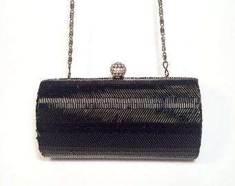 Vintage Black Glass Beads Hand Bag - Vintage Black Clutch  - Black bag - Theatre bag - Evening bag - Vintage bag 80s - Vintage Purse