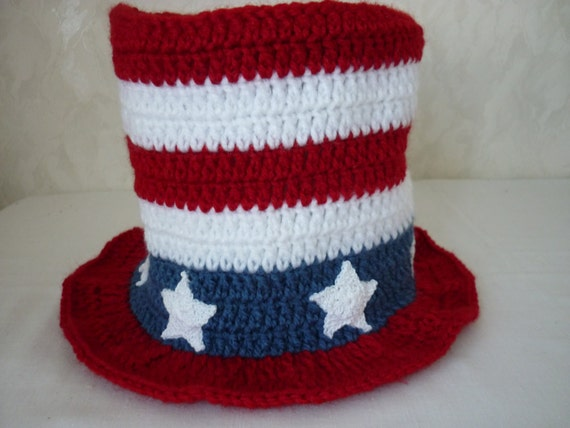 Crochet Pattern American Flag : Crochet PATTERN American Flag hat July 4th Top hat American