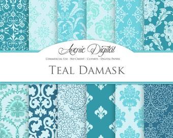 Teal Damask Digital Paper. Scrapbooking Backgrounds. Light / dark teal patterns for Commercial Use. Wedding. Instant Download.