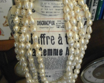 extra long vintage Pearl imitation Necklace, 90cm/ 35.4 inch