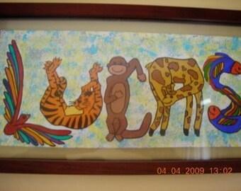 Kid Art Children's Decor Nursery Custom Painting of Names using Animal Shaped Letter