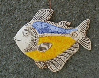 Fish, Ceramic fish, Fish tile, Funny fish, Ceramic tile, Yellow fish, Ceramics and pottery, Handmade fish, yellow ceramic fish tile
