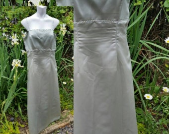 136-Vintage prom dress-Size 14-Graduation-Bridesmaid-Wedding-Mother of bride-Formal gown-Evening gown-Decorated-Beaded decoration-Mint color