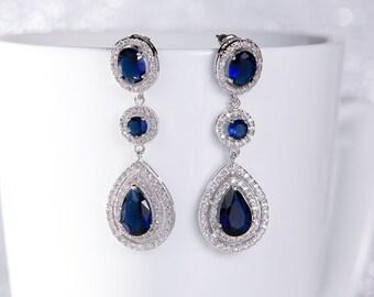 Wedding Earrings Zirconia Earrings Wedding Jewelry Bridesmaid Earrings Bridesmaid Accessories Dangling Teardrop Earrings stl141