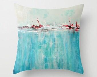 Blue Throw Pillow, Art Pillow, Beach Pillows, Turquoise Pillow, Decorative Pillow Cover Coastal Pillow Ocean Pillow, Cushions, Toss Pillows
