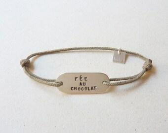 Bracelet child silver custom, message, adjustable on color cord