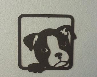 Mini Boxer - Puppy in window - Dog Art - Metal Art - Wall Decor