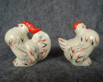 Salt & Pepper Shakers Pair of Roosters Mfg in Japan