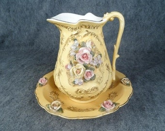 Vintage Pitcher and Basin with Intricate Ornate Floral Design