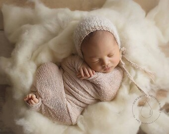 Simply Fluff  - Natural Cream Colored Wool Batting - Newborn Photography Prop - Cloud Layer - Basket Stuffer