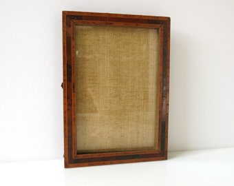 ANTIQUE WOOD FRAME - Burl wood with inlays