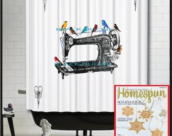 Sewing Machine with colorful birds shower curtain - thread bobbin vintage sewing machine shower curtain
