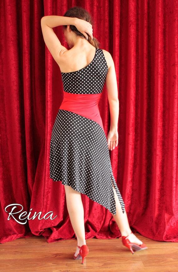 Tango Kleid schwarz mit weißen Polka Dots und rot von ...