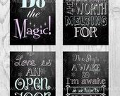 SALE Frozen party decor, Frozen wall art, Frozen birthday Party Pack, FOUR PIECE Chalkboard Set, Girls room digital download printable