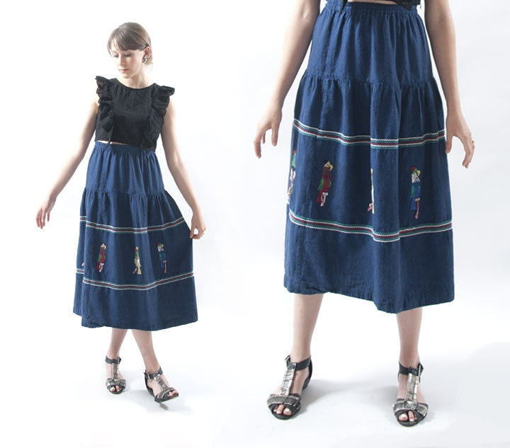 Mexican skirt embroidered parrots s by