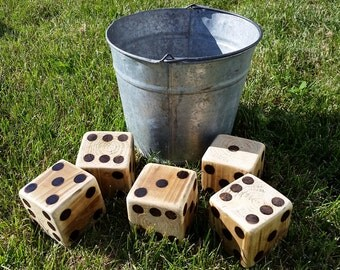 Lawn Dice with Bucket - Set of 5