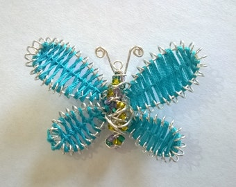Silver plated embroidered butterfly pendant