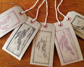 Hand stamped gift labels with hare designs