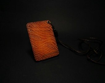 neck card case,leather card case,leather card holder,business card holder,mini leather wallet,small wallet,leather wallet,wood,grain wood