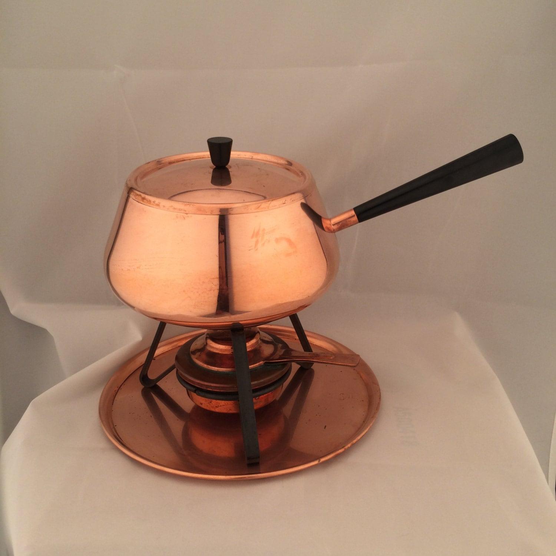 vintage copper fondue set spring culinox made in switzerland. Black Bedroom Furniture Sets. Home Design Ideas