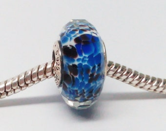 New Authentic Pandora 925 ale Blue Sea Glass Bead Murano 791609