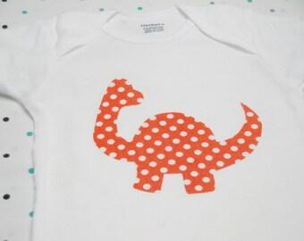 Baby Onesie - Orange Dinosaur
