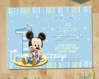 Baby Mickey First Birthday Party Invitation