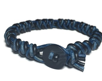 Handmade black & blue genuine leather mens Spanish Knot bracelet