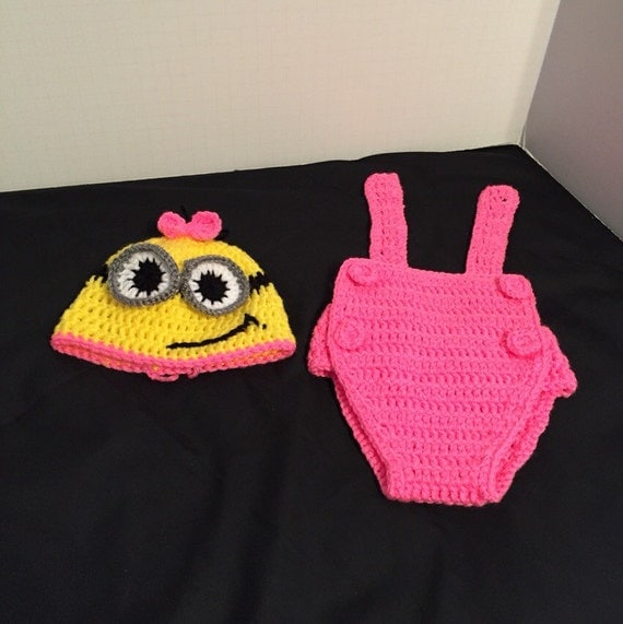 Crochet Patterns For Baby Overalls : Crochet Minion Newborn Outfit by TooTinyTooCute on Etsy