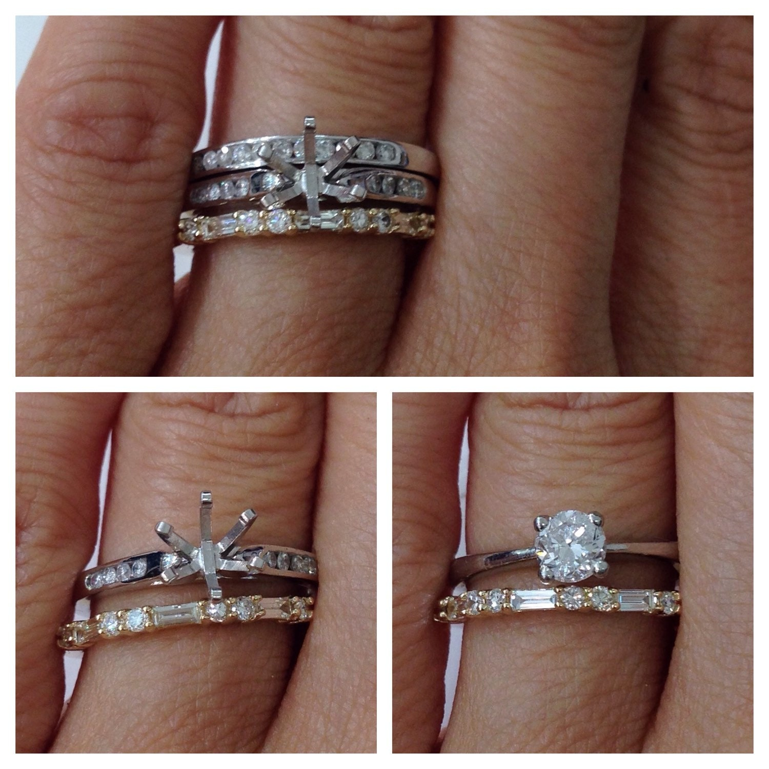 Wedding Band Baguette and Round Diamonds - 14K Yellow Gold Rose ...