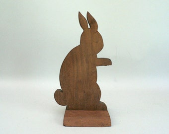 Wooden Bunny Rabbit Sculpture