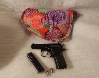 Price Drop!  Discontinued Item - Purple/Orange/Red fabric small pistol case - Monogrammed Gun Case - Personalized gun case