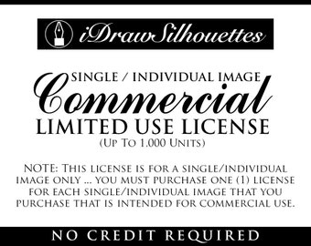 COMMERCIAL USE LICENSE - Single / Individual Silhouette Clip Art Image