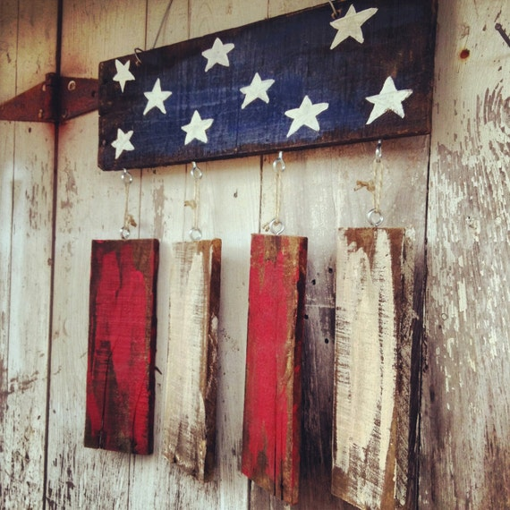 4th of July Wreath - 4th of July Decoration - July 4th Wreath - Flag Wreath - Garden Flag - Rustic Flag - Front Porch Decor - Front Door