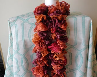 Knit hat and scarf using Bernat Boa yarn by TealRibbonsCrafts