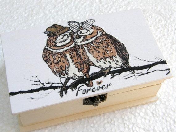 Wedding ring box personalized box owls in love owls wedding
