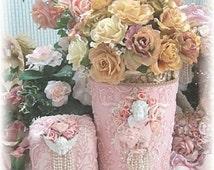 Pink Cherub Waste / Towel Basket