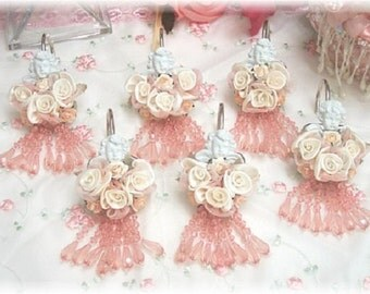 Cherub Shower Curtain Hooks, now with clear fringe, gorgeous!