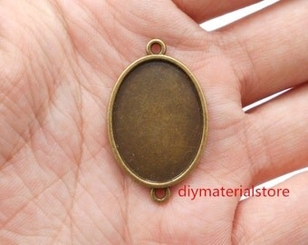 5 pc - 18x25mm Double Loop Pendant Trays Oval Blanks Link Connector Tray Antique Bronze
