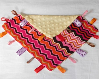 Pink Chevron Minky Taggy blanket, light yellow minky dot backing, cotton upper, Australian handmade