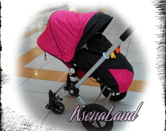 Hood and cover foot pocket, canopy pink and black ,Sun Canopy for Bugaboo Frog, Cameleon Stroller