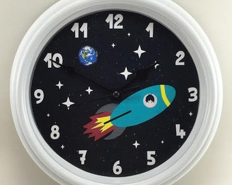 SPACESHIP, Planet Earth and ASTRONAUT Nursery/Child's Room Wall Clock